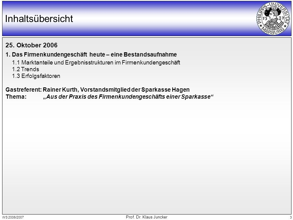 WS 2006/2007 Prof. Dr. Klaus Juncker 3 Inhaltsübersicht 25.