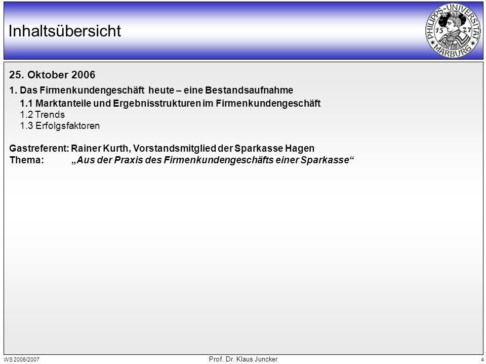 WS 2006/2007 Prof. Dr. Klaus Juncker 4 Inhaltsübersicht 25.