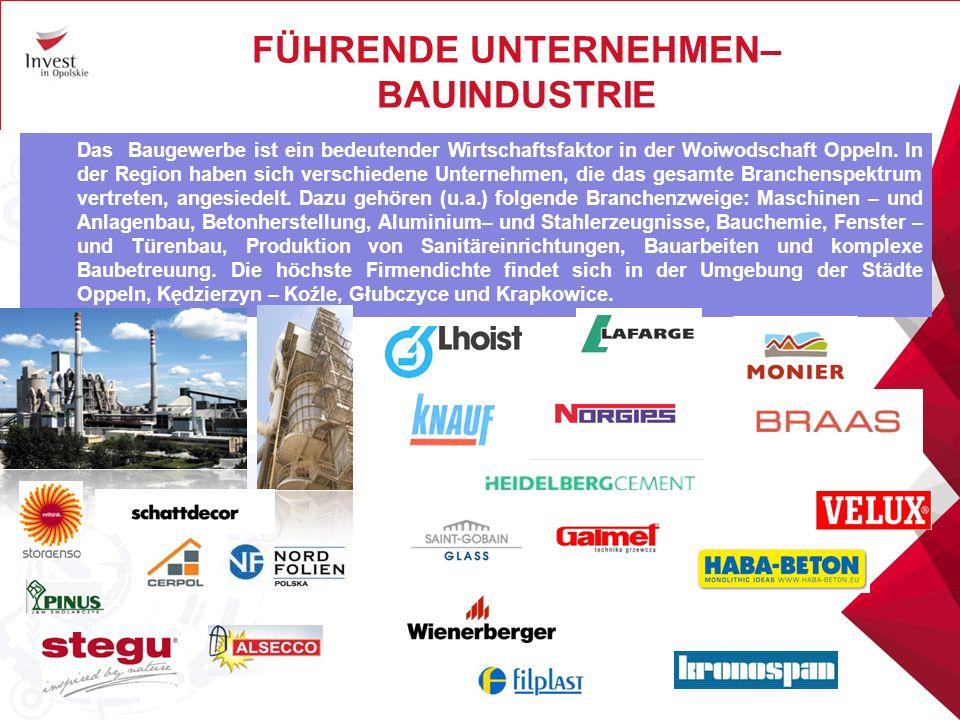 FÜHRENDE UNTERNEHMEN– BAUINDUSTRIE Das Baugewerbe ist ein bedeutender Wirtschaftsfaktor in der Woiwodschaft Oppeln.