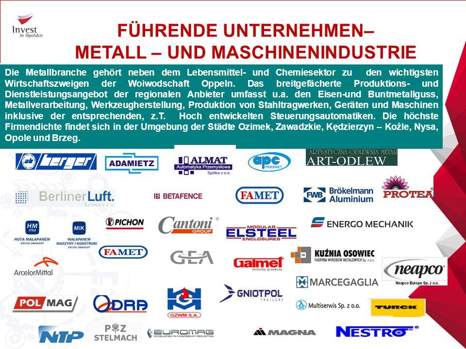 Die Metallbranche gehört neben dem Lebensmittel- und Chemiesektor zu den wichtigsten Wirtschaftszweigen der Woiwodschaft Oppeln.