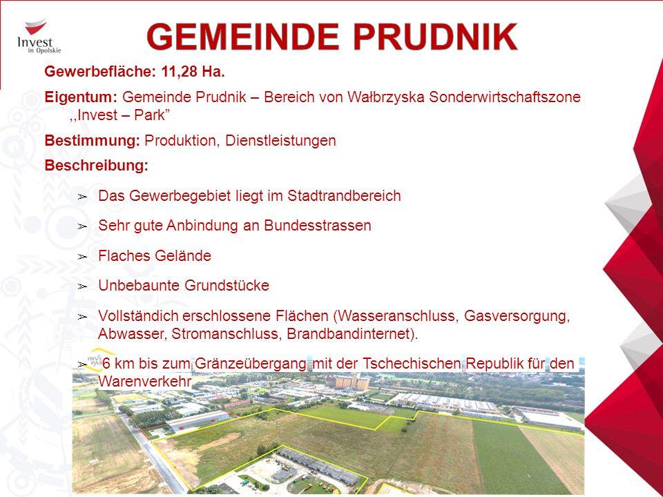 """Gewerbefläche: 11,28 Ha. Eigentum: Gemeinde Prudnik – Bereich von Wałbrzyska Sonderwirtschaftszone,,Invest – Park"""" Bestimmung: Produktion, Dienstleist"""