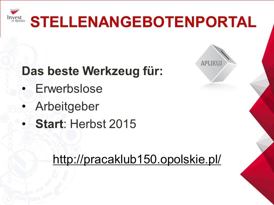 Das beste Werkzeug für: Erwerbslose Arbeitgeber Start: Herbst 2015 http://pracaklub150.opolskie.pl/