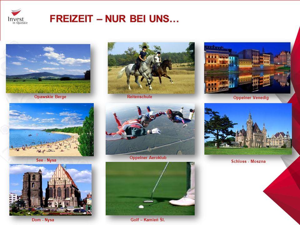 Golf – Kamień Śl. See - Nysa Oppelner Venedig Opawskie Berge Oppelner Aeroklub Reitenschule Schloss - Moszna Dom - Nysa