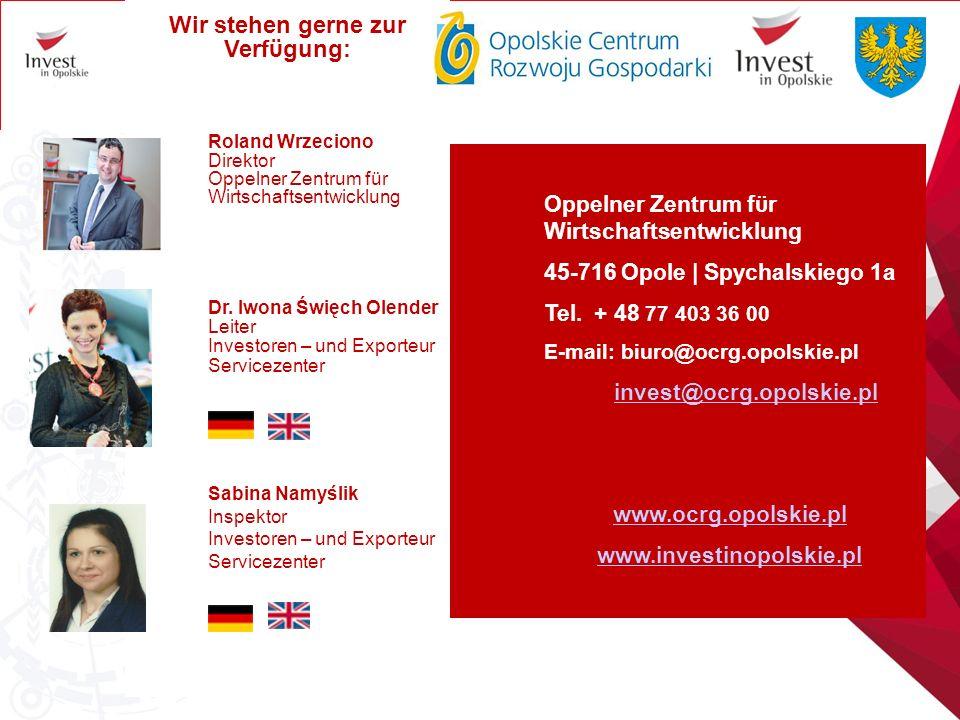 Wir stehen gerne zur Verfϋgung: Roland Wrzeciono Direktor Oppelner Zentrum für Wirtschaftsentwicklung Dr.