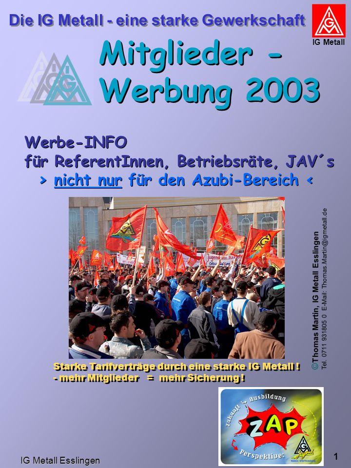 IG Metall Esslingen Die IG Metall - eine starke Gewerkschaft IG Metall 1 Mitglieder - Werbung 2003 Werbe-INFO für ReferentInnen, Betriebsräte, JAV´s >