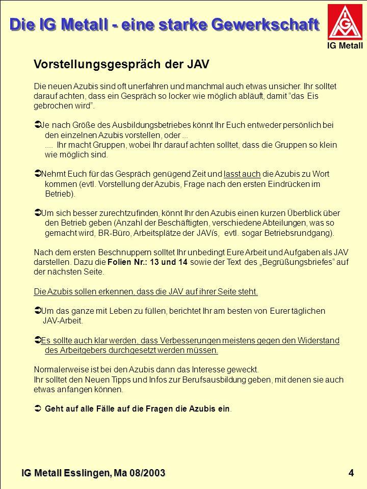 IG Metall Esslingen Die IG Metall - eine starke Gewerkschaft IG Metall 5 5 Die IG Metall - eine starke Gewerkschaft JAV....