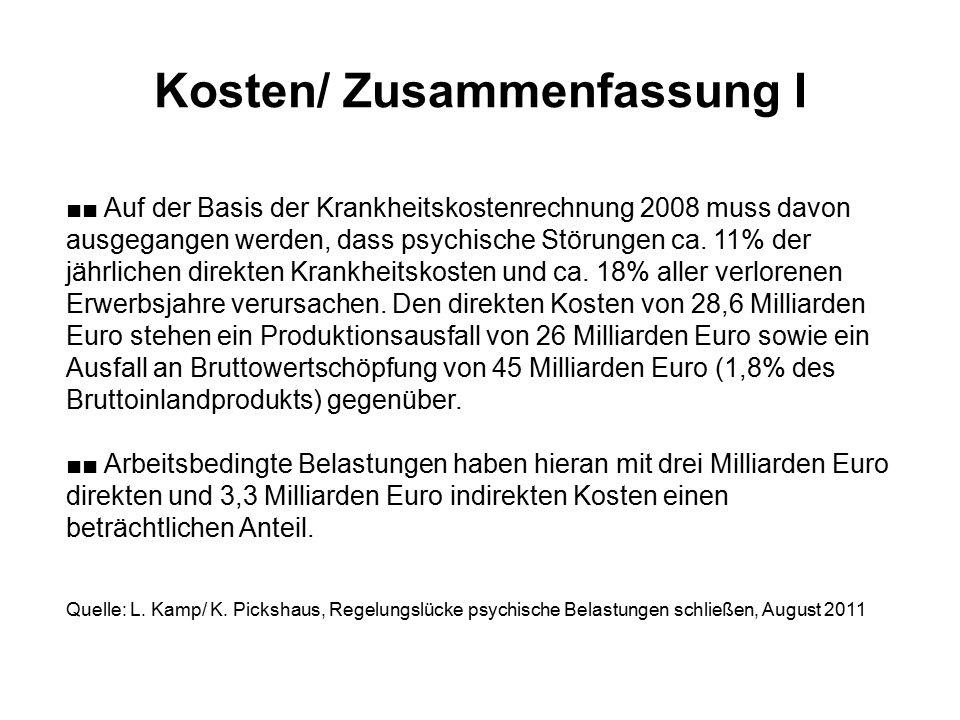 Kosten/ Zusammenfassung I ■■ Auf der Basis der Krankheitskostenrechnung 2008 muss davon ausgegangen werden, dass psychische Störungen ca. 11% der jähr