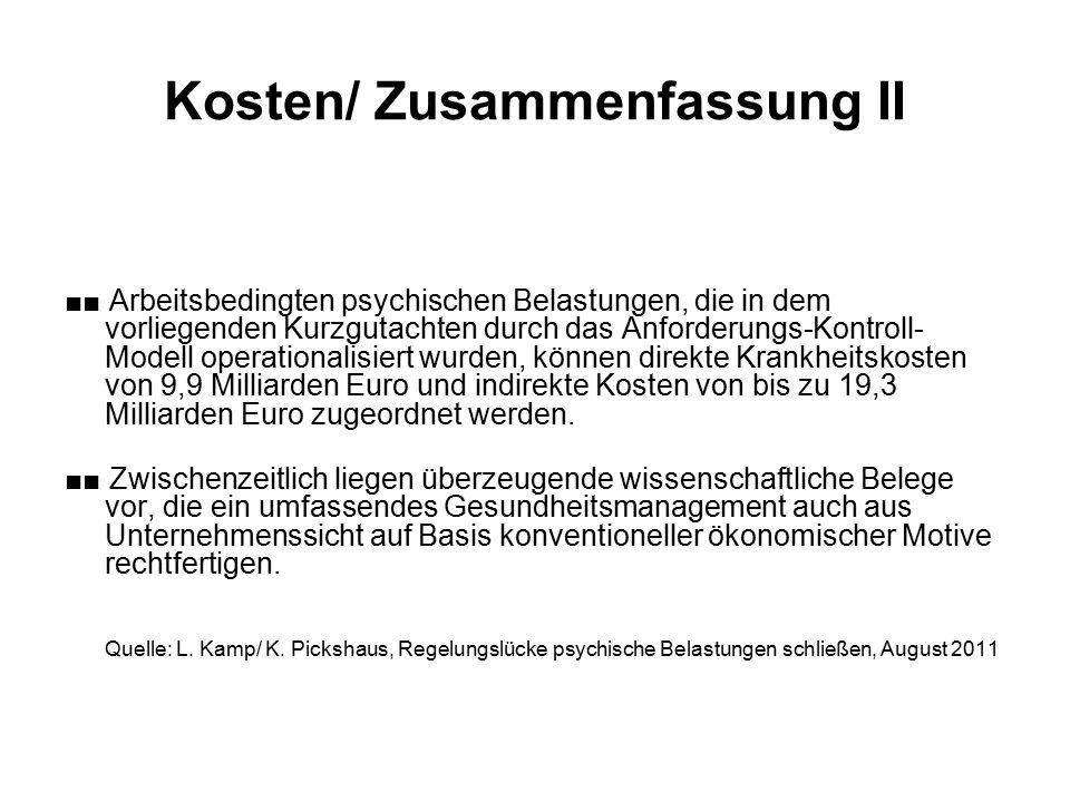 Kosten/ Zusammenfassung II ■■ Arbeitsbedingten psychischen Belastungen, die in dem vorliegenden Kurzgutachten durch das Anforderungs-Kontroll- Modell operationalisiert wurden, können direkte Krankheitskosten von 9,9 Milliarden Euro und indirekte Kosten von bis zu 19,3 Milliarden Euro zugeordnet werden.