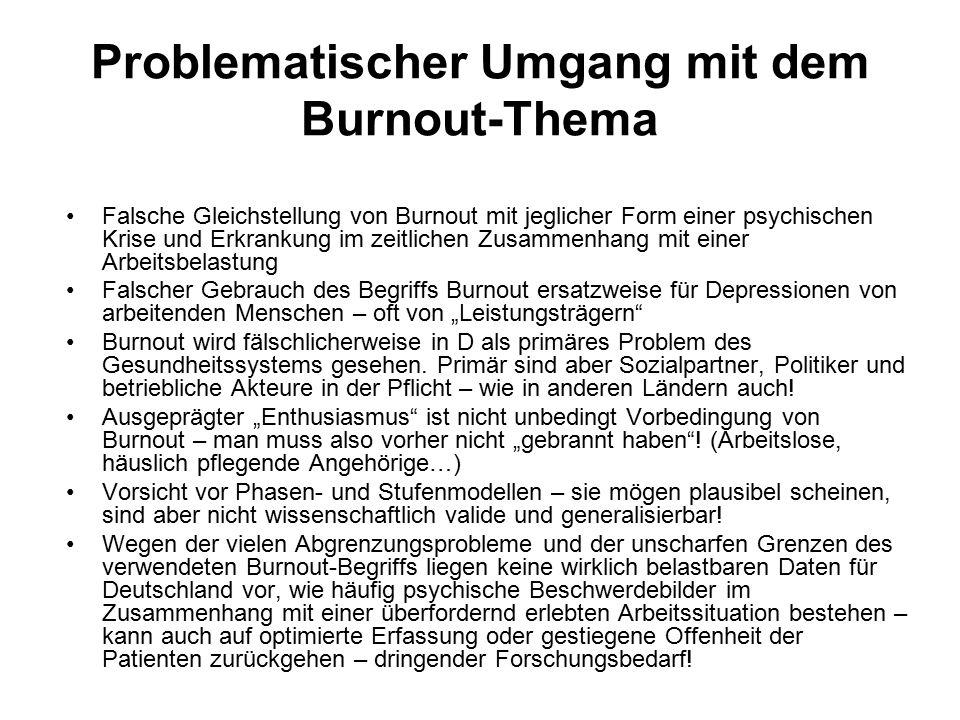 """Problematischer Umgang mit dem Burnout-Thema Falsche Gleichstellung von Burnout mit jeglicher Form einer psychischen Krise und Erkrankung im zeitlichen Zusammenhang mit einer Arbeitsbelastung Falscher Gebrauch des Begriffs Burnout ersatzweise für Depressionen von arbeitenden Menschen – oft von """"Leistungsträgern Burnout wird fälschlicherweise in D als primäres Problem des Gesundheitssystems gesehen."""