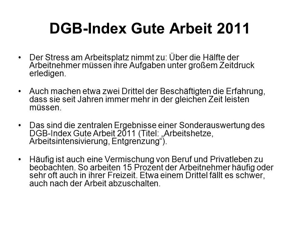 DGB-Index Gute Arbeit 2011 Der Stress am Arbeitsplatz nimmt zu: Über die Hälfte der Arbeitnehmer müssen ihre Aufgaben unter großem Zeitdruck erledigen.