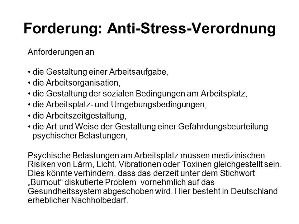 Forderung: Anti-Stress-Verordnung Anforderungen an die Gestaltung einer Arbeitsaufgabe, die Arbeitsorganisation, die Gestaltung der sozialen Bedingung