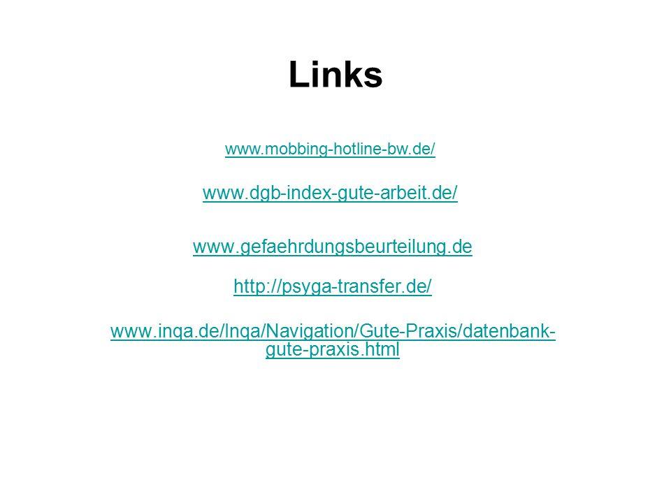 Links www.gefaehrdungsbeurteilung.de http://psyga-transfer.de/ www.inqa.de/Inqa/Navigation/Gute-Praxis/datenbank- gute-praxis.html www.mobbing-hotline-bw.de/ www.dgb-index-gute-arbeit.de/