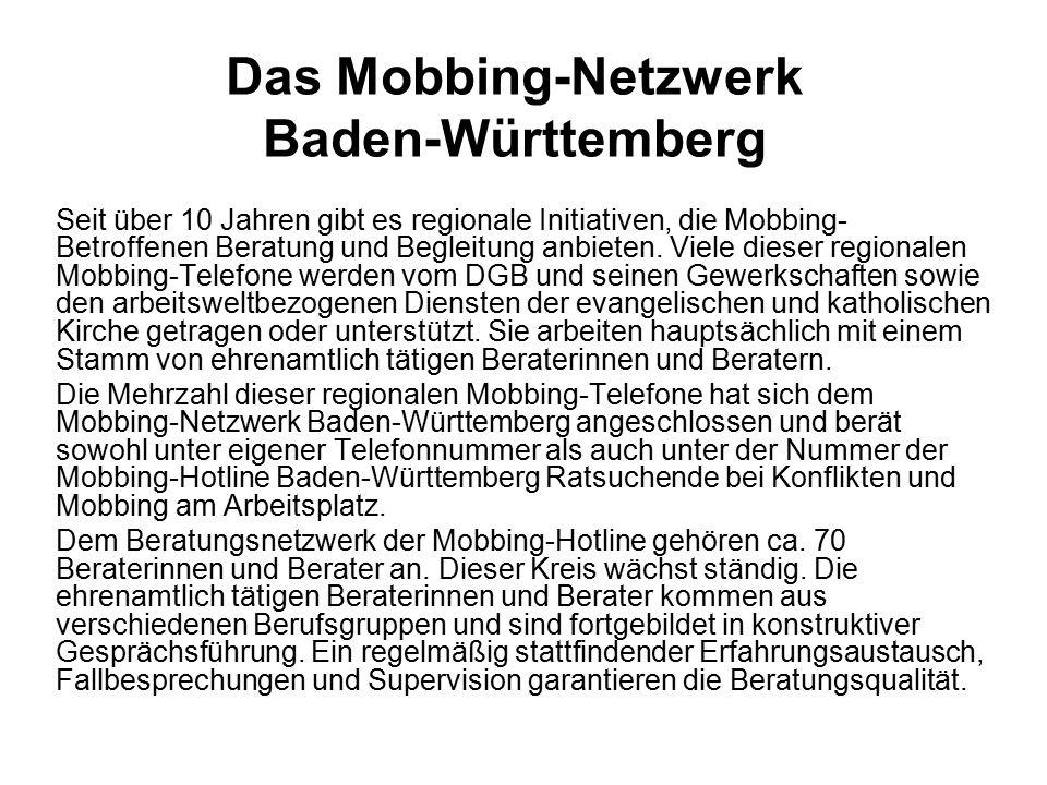 Das Mobbing-Netzwerk Baden-Württemberg Seit über 10 Jahren gibt es regionale Initiativen, die Mobbing- Betroffenen Beratung und Begleitung anbieten.