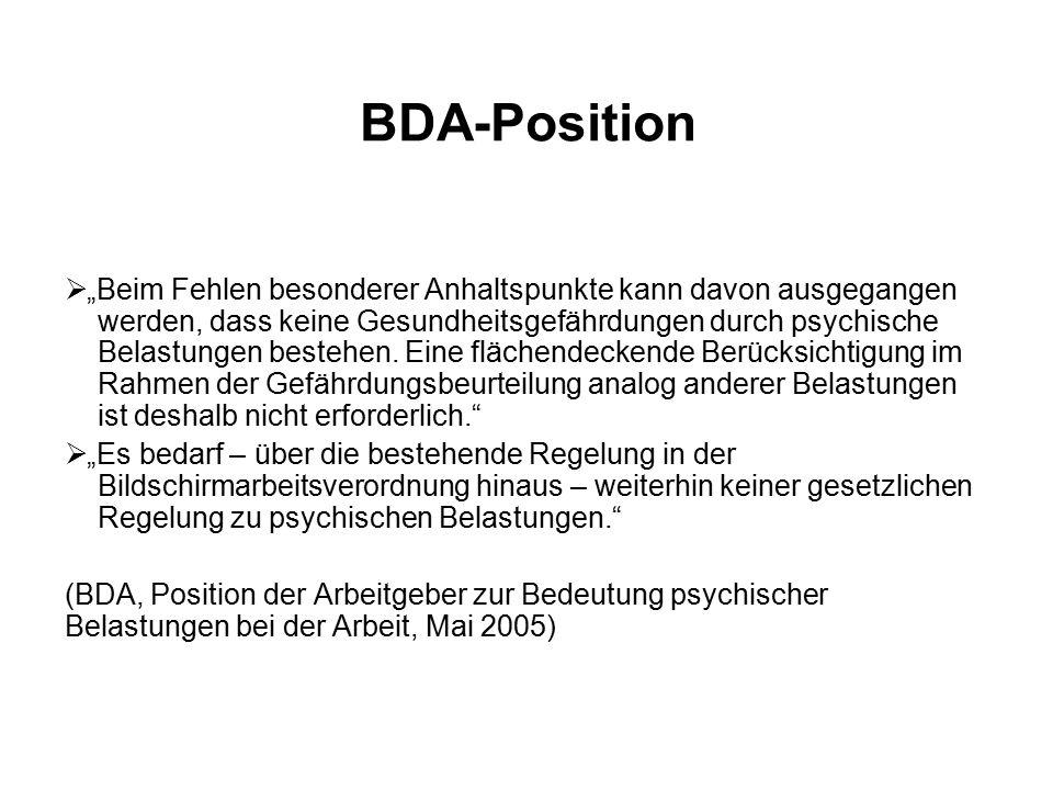 """BDA-Position  """"Beim Fehlen besonderer Anhaltspunkte kann davon ausgegangen werden, dass keine Gesundheitsgefährdungen durch psychische Belastungen bestehen."""