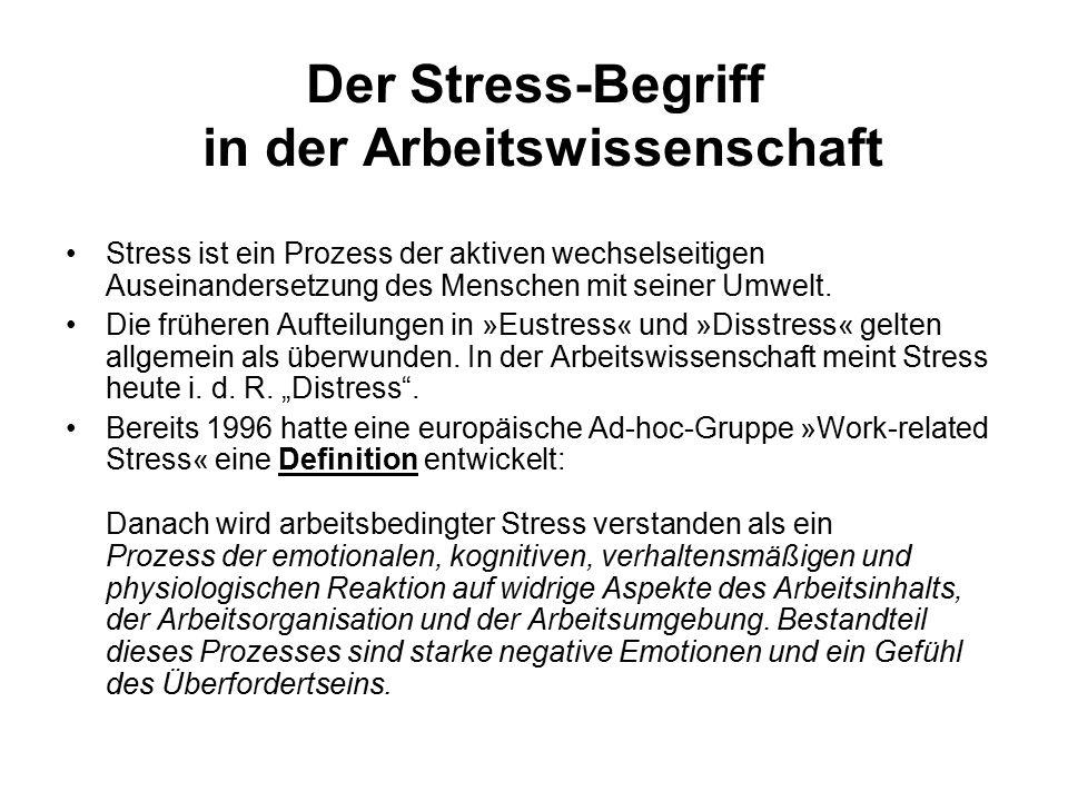 Der Stress-Begriff in der Arbeitswissenschaft Stress ist ein Prozess der aktiven wechselseitigen Auseinandersetzung des Menschen mit seiner Umwelt. Di