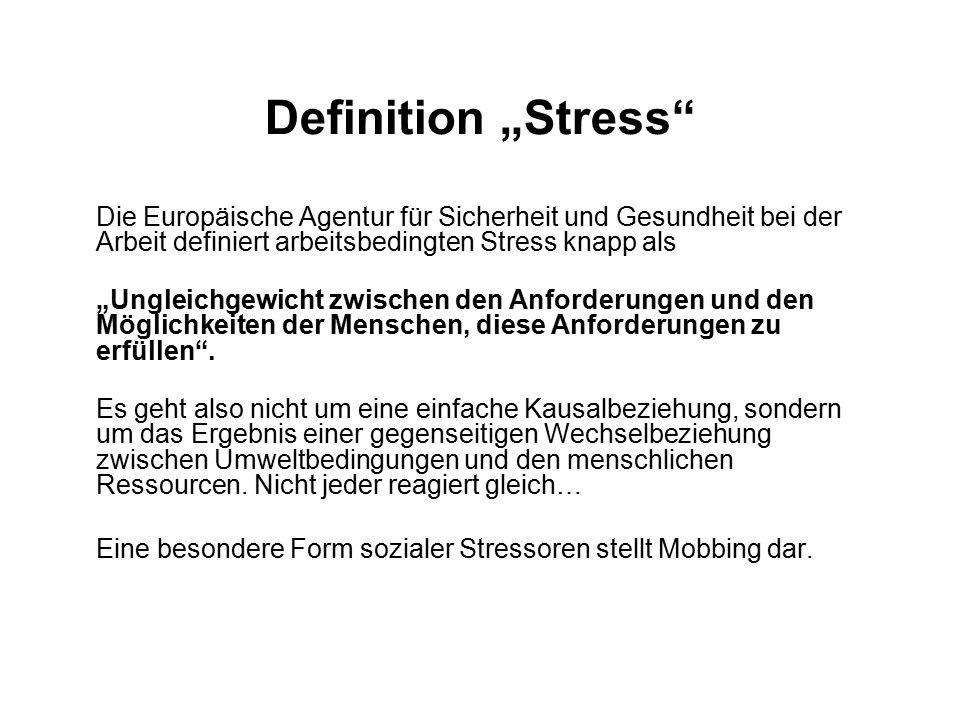 """Definition """"Stress Die Europäische Agentur für Sicherheit und Gesundheit bei der Arbeit definiert arbeitsbedingten Stress knapp als """"Ungleichgewicht zwischen den Anforderungen und den Möglichkeiten der Menschen, diese Anforderungen zu erfüllen ."""