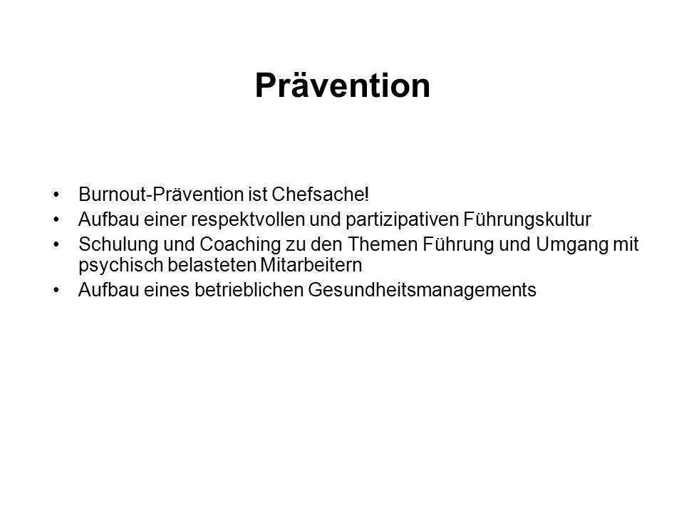Prävention Burnout-Prävention ist Chefsache! Aufbau einer respektvollen und partizipativen Führungskultur Schulung und Coaching zu den Themen Führung