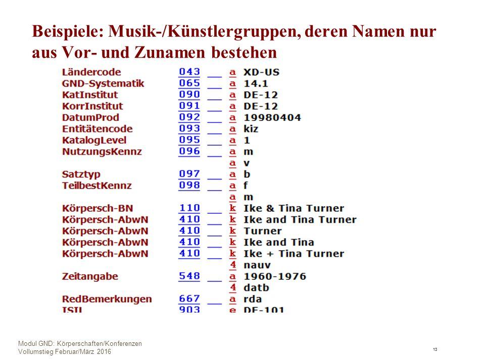 Beispiele: Musik-/Künstlergruppen, deren Namen nur aus Vor- und Zunamen bestehen 13 Modul GND: Körperschaften/Konferenzen Vollumstieg Februar/März 2016
