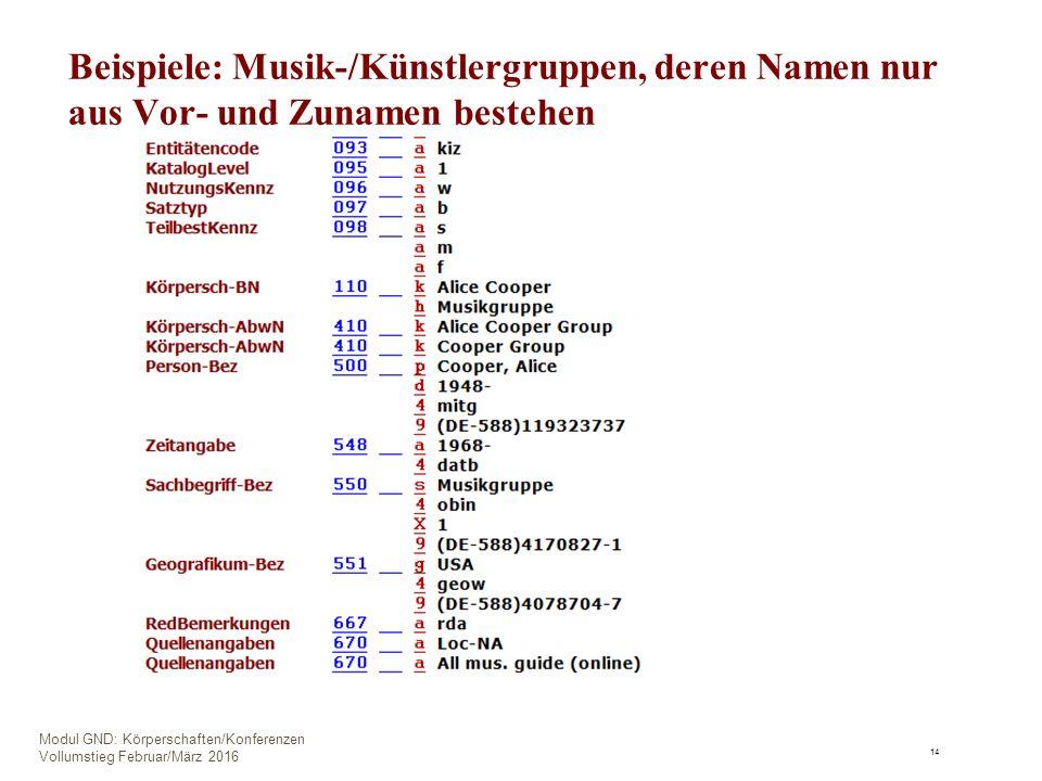 Beispiele: Musik-/Künstlergruppen, deren Namen nur aus Vor- und Zunamen bestehen 14 Modul GND: Körperschaften/Konferenzen Vollumstieg Februar/März 2016