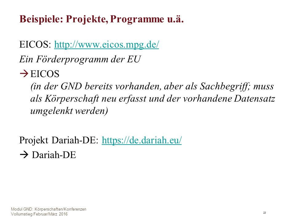 Beispiele: Projekte, Programme u.ä.