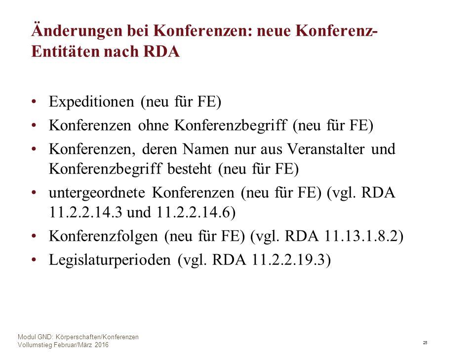 Änderungen bei Konferenzen: neue Konferenz- Entitäten nach RDA Expeditionen (neu für FE) Konferenzen ohne Konferenzbegriff (neu für FE) Konferenzen, deren Namen nur aus Veranstalter und Konferenzbegriff besteht (neu für FE) untergeordnete Konferenzen (neu für FE) (vgl.
