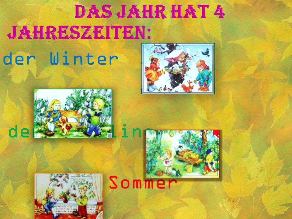 Das Jahr hat 4 Jahreszeiten : der Winter der Frühling der Sommer der Herbst.