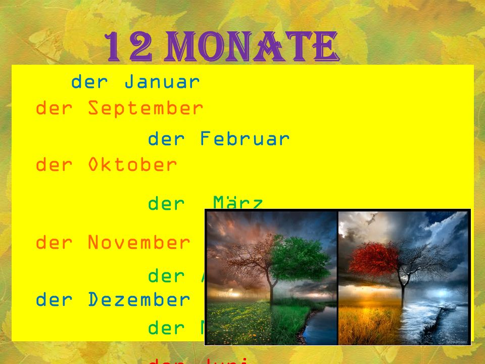 12 Monate der Januar der September der Februar der Oktober der März der November der April der Dezember der Mai der Juni der Juli der August