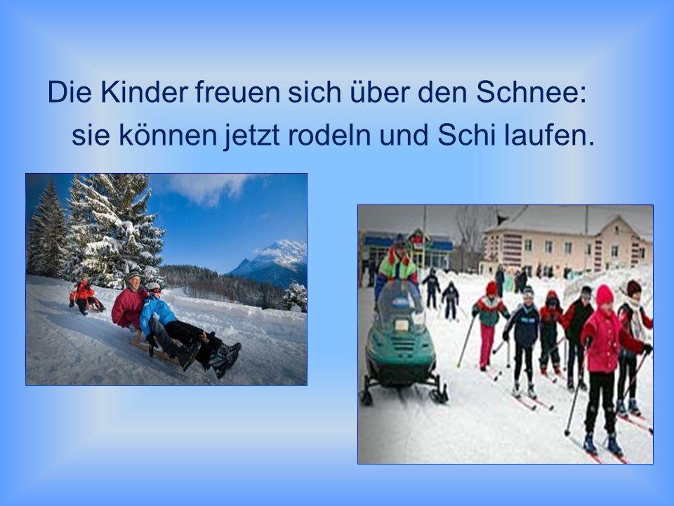 Die Kinder freuen sich über den Schnee: sie können jetzt rodeln und Schi laufen.
