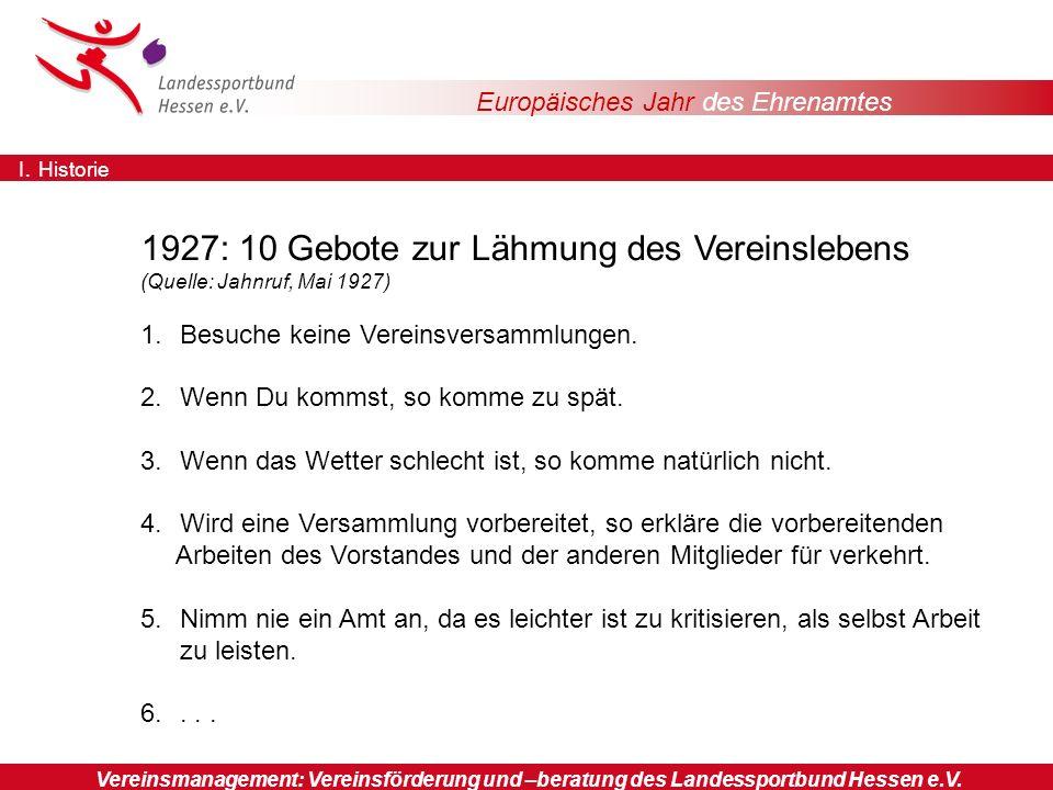Europäisches Jahr des Ehrenamtes Sportorganisationen 1927: 10 Gebote zur Lähmung des Vereinslebens (Quelle: Jahnruf, Mai 1927) 1.Besuche keine Vereinsversammlungen.