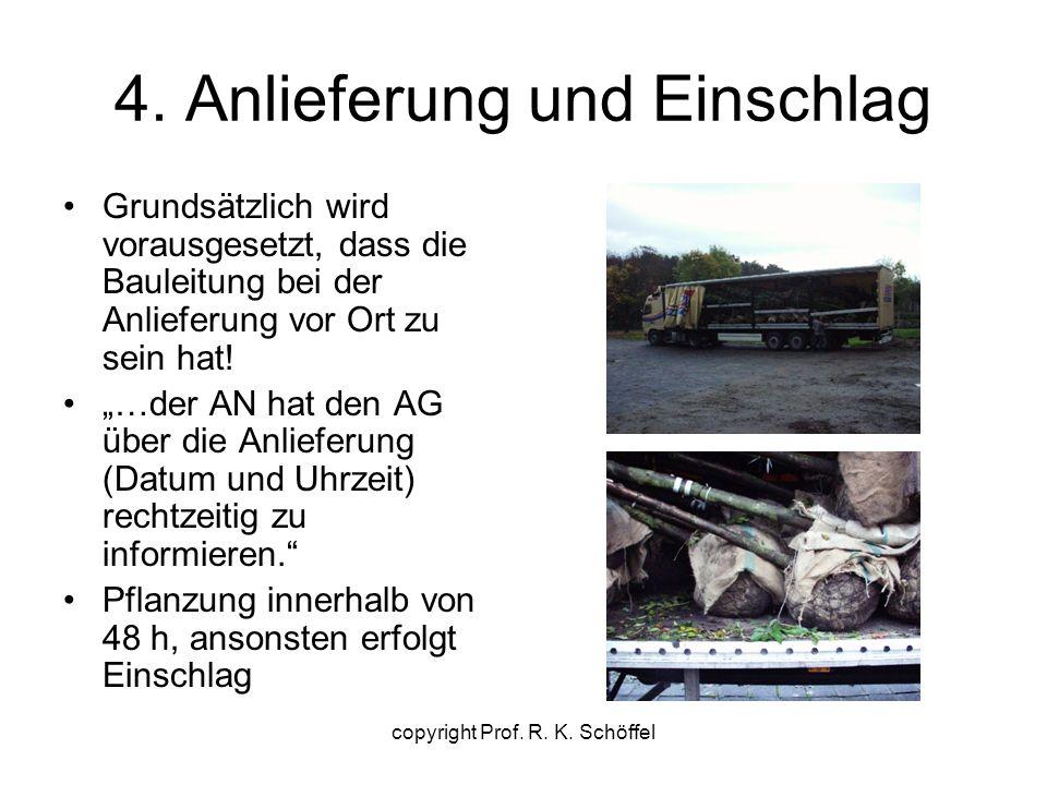 """4. Anlieferung und Einschlag Grundsätzlich wird vorausgesetzt, dass die Bauleitung bei der Anlieferung vor Ort zu sein hat! """"…der AN hat den AG über d"""