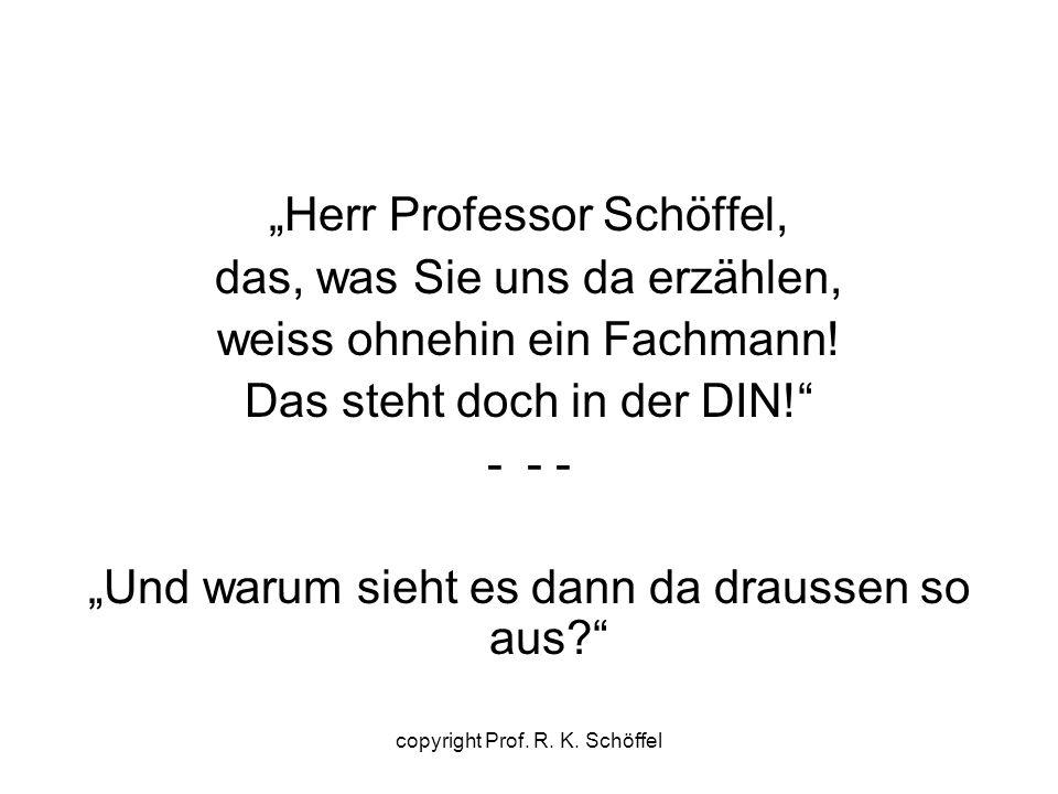 """""""Herr Professor Schöffel, das, was Sie uns da erzählen, weiss ohnehin ein Fachmann! Das steht doch in der DIN!"""" -- - """"Und warum sieht es dann da draus"""