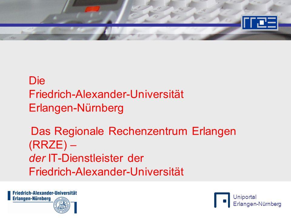 """Uniportal Erlangen-Nürnberg 13.11.2009Wolfgang Wiese, Rolf von der Forst 3 Die Universität Erlangen-Nürnberg Kennzahlen Stand: WS 07/08 Zweitgrößte Universität in Bayern 25.925 Studenten 12.000 Mitarbeiter (45% Kliniken) 5 Fakultäten 22 Departments / Fachbereiche 24 Kliniken, 11 selbständige Abteilungen 265 Lehrstühle (C4 / W3) 268 Professuren (C3 / W2) 132 Studienfächer 250 Gebäude in 140 Gebäudegruppen in 5 Städten und das Wassersportzentrum bei Pleinfeld Die """"verteilteste Universität Deutschlands mit breitesten Studienangebot nach Bologna FAUFAUFAUFAU"""