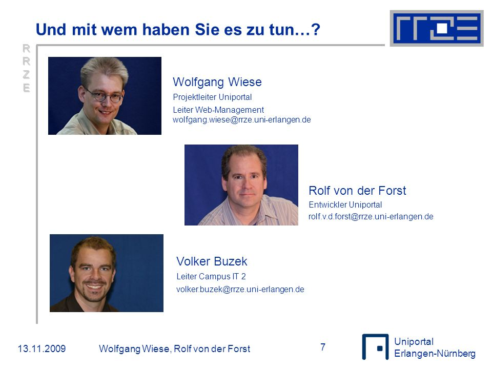 Uniportal Erlangen-Nürnberg Das Projekt Hochschulportal