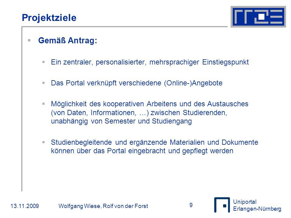 Uniportal Erlangen-Nürnberg 13.11.2009Wolfgang Wiese, Rolf von der Forst 20  Portale, Portale, Portale…  Noch ein Portal.