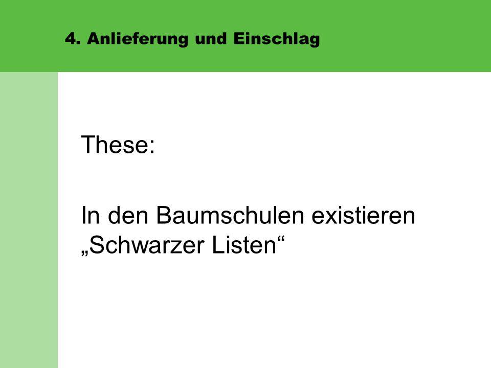 """4. Anlieferung und Einschlag These: In den Baumschulen existieren """"Schwarzer Listen"""