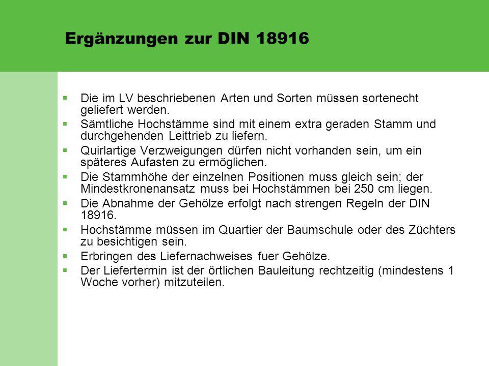 Ergänzungen zur DIN 18916  Die im LV beschriebenen Arten und Sorten müssen sortenecht geliefert werden.  Sämtliche Hochstämme sind mit einem extra g