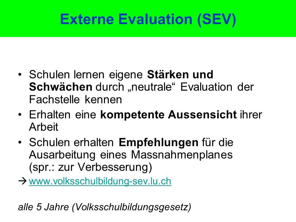 """Externe Evaluation (SEV) Schulen lernen eigene Stärken und Schwächen durch """"neutrale"""" Evaluation der Fachstelle kennen Erhalten eine kompetente Aussen"""