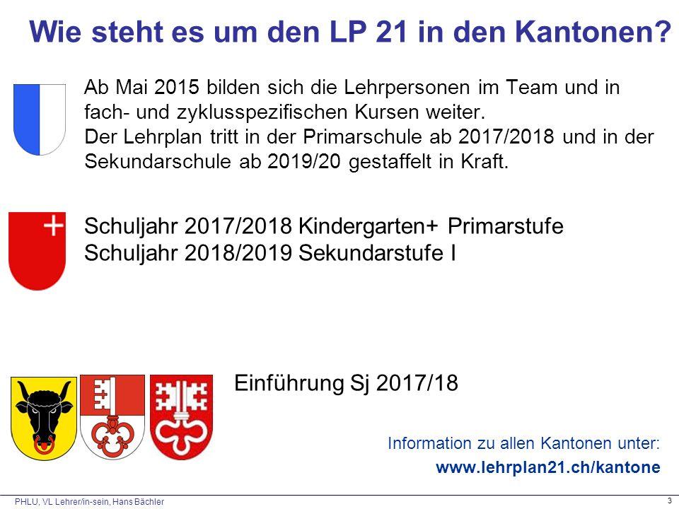 PHLU, VL Lehrer/in-sein, Hans Bächler 3 Wie steht es um den LP 21 in den Kantonen? Ab Mai 2015 bilden sich die Lehrpersonen im Team und in fach- und z