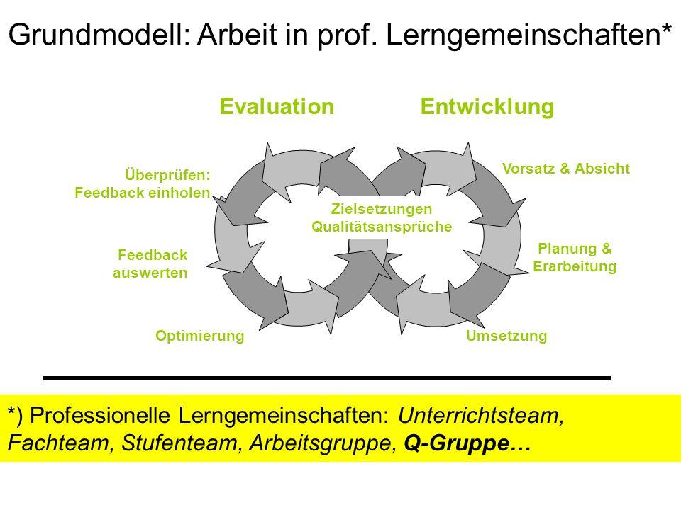 Grundmodell: Arbeit in prof. Lerngemeinschaften* Zielsetzungen Qualitätsansprüche Überprüfen: Feedback einholen Feedback auswerten Planung & Erarbeitu