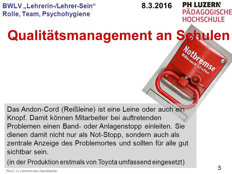 """PHLU, VL Lehrer/in-sein, Hans Bächler 5 BWLV """"Lehrerin-/Lehrer-Sein"""" 8.3.2016 Rolle, Team, Psychohygiene Das Andon-Cord (Reißleine) ist eine Leine ode"""