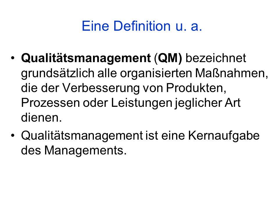 Eine Definition u. a. Qualitätsmanagement (QM) bezeichnet grundsätzlich alle organisierten Maßnahmen, die der Verbesserung von Produkten, Prozessen od