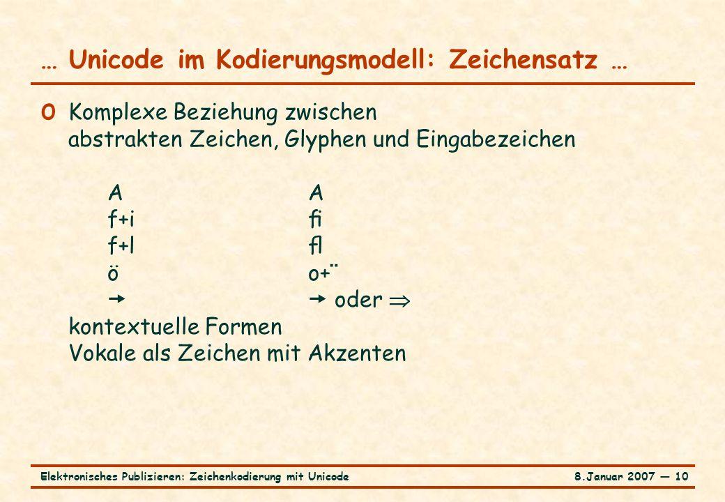8.Januar 2007 ― 10Elektronisches Publizieren: Zeichenkodierung mit Unicode … Unicode im Kodierungsmodell: Zeichensatz … o Komplexe Beziehung zwischen abstrakten Zeichen, Glyphen und Eingabezeichen A A f+i f+l öo+¨  oder  kontextuelle Formen Vokale als Zeichen mit Akzenten