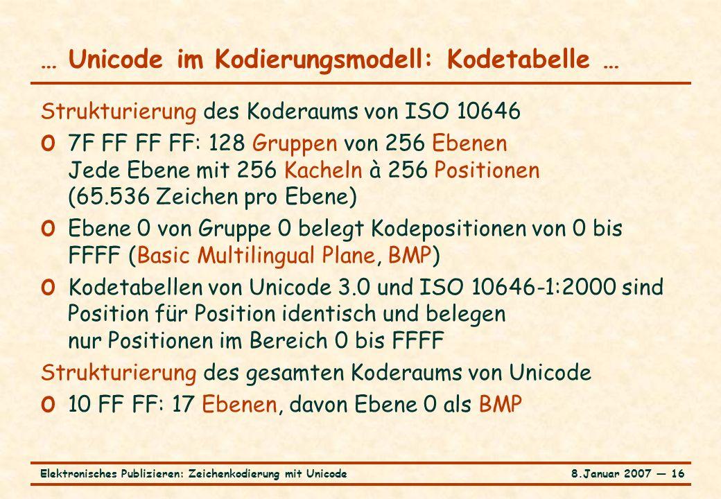8.Januar 2007 ― 16Elektronisches Publizieren: Zeichenkodierung mit Unicode … Unicode im Kodierungsmodell: Kodetabelle … Strukturierung des Koderaums von ISO 10646 o 7F FF FF FF: 128 Gruppen von 256 Ebenen Jede Ebene mit 256 Kacheln à 256 Positionen (65.536 Zeichen pro Ebene) o Ebene 0 von Gruppe 0 belegt Kodepositionen von 0 bis FFFF (Basic Multilingual Plane, BMP) o Kodetabellen von Unicode 3.0 und ISO 10646-1:2000 sind Position für Position identisch und belegen nur Positionen im Bereich 0 bis FFFF Strukturierung des gesamten Koderaums von Unicode o 10 FF FF: 17 Ebenen, davon Ebene 0 als BMP
