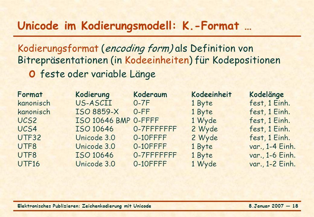 8.Januar 2007 ― 18Elektronisches Publizieren: Zeichenkodierung mit Unicode Unicode im Kodierungsmodell: K.-Format … Kodierungsformat (encoding form) a
