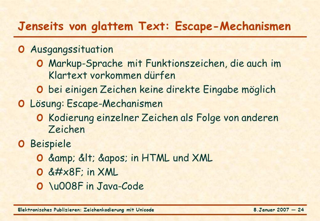 8.Januar 2007 ― 24Elektronisches Publizieren: Zeichenkodierung mit Unicode Jenseits von glattem Text: Escape-Mechanismen o Ausgangssituation o Markup-