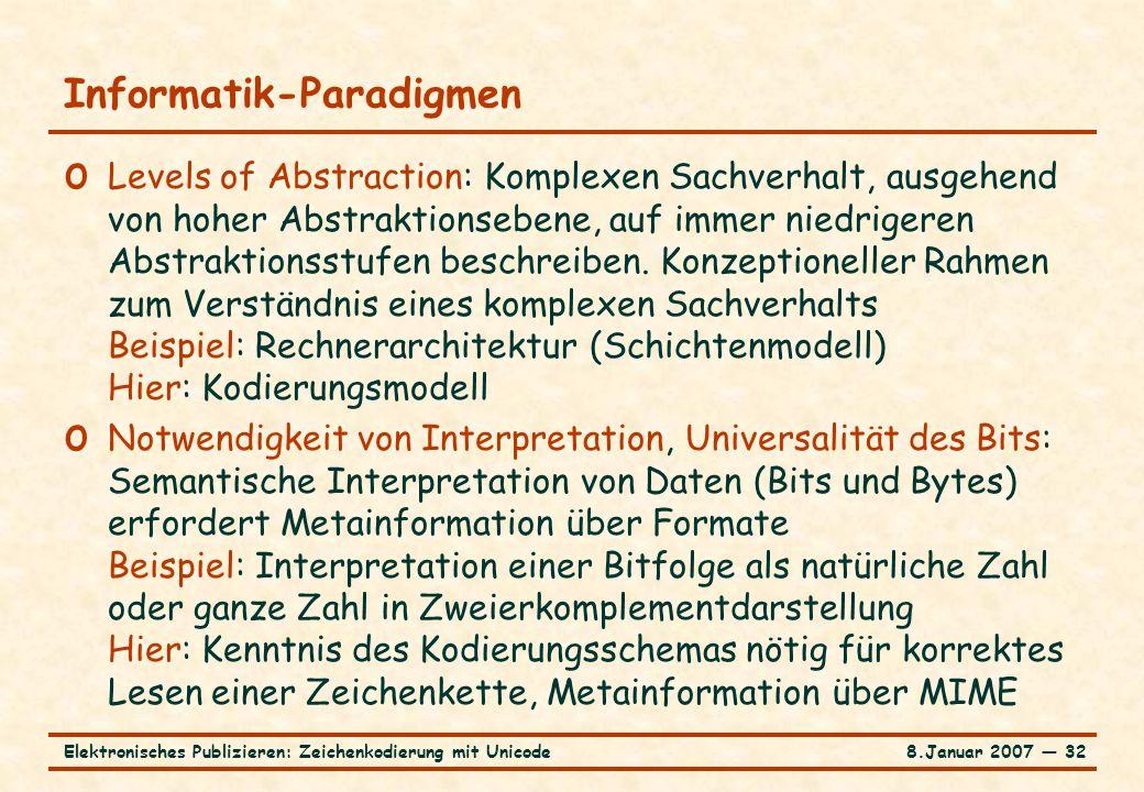 8.Januar 2007 ― 32Elektronisches Publizieren: Zeichenkodierung mit Unicode Informatik-Paradigmen o Levels of Abstraction: Komplexen Sachverhalt, ausgehend von hoher Abstraktionsebene, auf immer niedrigeren Abstraktionsstufen beschreiben.