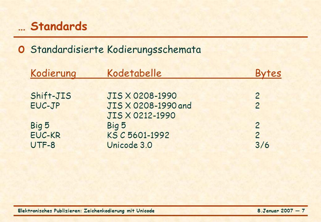 8.Januar 2007 ― 28Elektronisches Publizieren: Zeichenkodierung mit Unicode … XML und Unicode Schichtenmodell der Zeichenkodierung in XML o XML-Dokument zusammengesetzt aus Entitäten o Entität als Bytestrom gemäß Kodierungsschema o Dekodierung eines Bytestroms in Strom von Unicode-Zeichenpositionen (Normalisierung von CR/LF) o Expandieren von Entitäten und Auflösen von Zeichenreferenzen zu Unicode-Zeichenpositionen (Behandlung des Escape-Mechanismus) Ergebnis: Strom von Unicode-Zeichenpositionen für logische Struktur / Inhalt eines XML-Dokuments (XML-Grammatik) Vergleich Escape-Mechanismus Java
