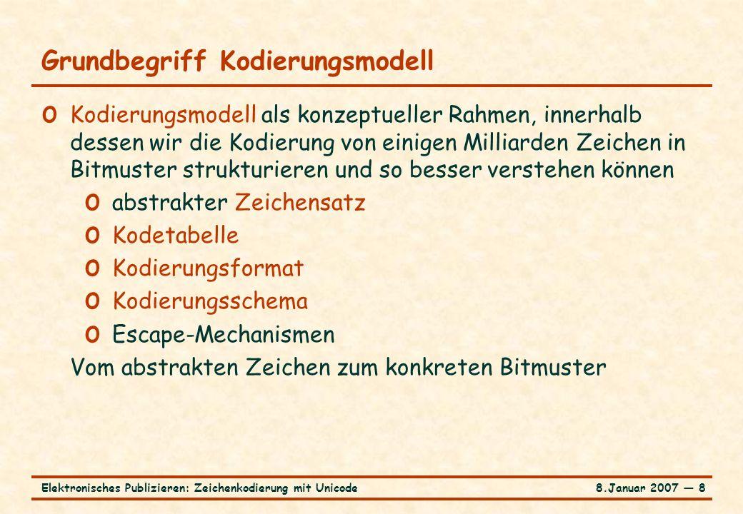 8.Januar 2007 ― 8Elektronisches Publizieren: Zeichenkodierung mit Unicode Grundbegriff Kodierungsmodell o Kodierungsmodell als konzeptueller Rahmen, i