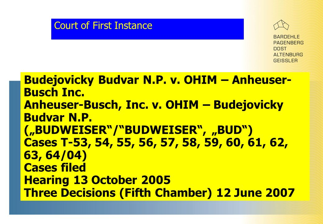 Court of First Instance Budejovicky Budvar N.P. v.
