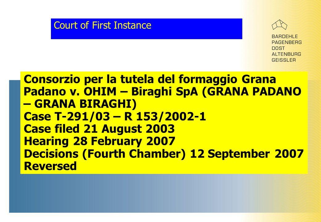 Court of First Instance Consorzio per la tutela del formaggio Grana Padano v. OHIM – Biraghi SpA (GRANA PADANO – GRANA BIRAGHI) Case T-291/03 – R 153/